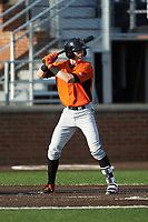 Chris Clare (2) of the Frederick Keys at bat against the Buies Creek Astros at Jim Perry Stadium on April 28, 2018 in Buies Creek, North Carolina. The Astros defeated the Keys 9-4.  (Brian Westerholt/Four Seam Images)