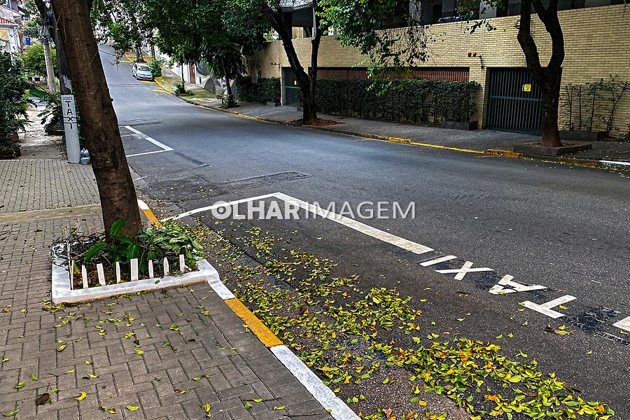 Rua vazia e ponto de taxi, São Paulo. 2021. foto Juca Martins