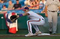 Clemson's Richie Shaffer in Game 12 of the NCAA Division One Men's College World Series on June 25th, 2010 at Johnny Rosenblatt Stadium in Omaha, Nebraska.  (Photo by Andrew Woolley / Four Seam Images)