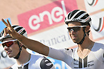 Michael Matthews (AUS) and Team Sunweb at sign on before the start of the 111th edition of Milan- San Remo 2020, running 305km from Milan to San Remo, Italy. 8th August 2020.<br /> Picture: LaPresse/Fabio Ferrari | Cyclefile<br /> <br /> All photos usage must carry mandatory copyright credit (© Cyclefile | LaPresse/Fabio Ferrari)