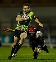 20th December 2020; The Sportsground, Galway, Connacht, Ireland; European Champions Cup Rugby, Connacht versus Bristol Bears; Jack Carty (Connacht) tries to get away from Siale Piutau (Bristol Bears)