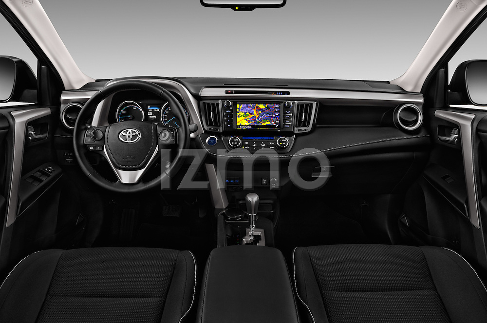 Stock photo of straight dashboard view of 2016 Toyota RAV4 Business Edition Plus 5 Door Suv Dashboard