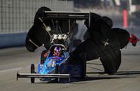 Nov 12, 2010; Pomona, CA, USA; NHRA top fuel dragster driver Mike Strasburg during qualifying for the Auto Club Finals at Auto Club Raceway at Pomona. Mandatory Credit: Mark J. Rebilas-