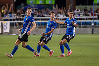SAN JOSE, CA - JULY 24: Tanner Beason #15, Carlos Fierro #7, and Paul Marie #3 of the San Jose Earthquakes react in unison to an offside call during a game between San Jose Earthquakes and Houston Dynamo at PayPal Park on July 24, 2021 in San Jose, California.