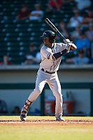 Peoria Javelinas shortstop Lucius Fox (5), of the Tampa Bay Rays organization, at bat during an Arizona Fall League game against the Mesa Solar Sox at Sloan Park on November 6, 2018 in Mesa, Arizona. Mesa defeated Peoria 7-5 . (Zachary Lucy/Four Seam Images)