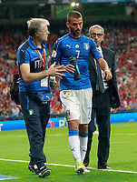 Italy's Leonardo Spinazzola injured during FIFA World Cup 2018 Qualifying Round match. September 2,2017.(ALTERPHOTOS/Acero)