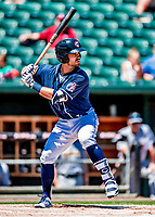 18 July 2018: New Hampshire Fisher Cats infielder Jon Berti in action against the Trenton Thunder at Northeast Delta Dental Stadium in Manchester, NH. The Thunder defeated the Fisher Cats 3-2 concluding a previous game started April 29. Mandatory Credit: Ed Wolfstein Photo *** RAW (NEF) Image File Available ***