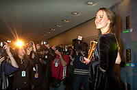 February 23, 2003, Montreal, Quebec, Canada<br /> <br /> Actress Karine Vanasse poses for  photographerswith her Jutra award (Best Actress),February 23, 2003 in Montreal, Quebec, Canada