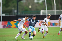 LAKE BUENA VISTA, FL - JULY 23: Jasser Khmiri #20 of Vancouver Whitecaps FC kicks the ball during a game between Chicago Fire and Vancouver Whitecaps at Wide World of Sports on July 23, 2020 in Lake Buena Vista, Florida.