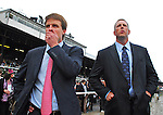 29 August 2009: Trainer Tim Ice (right) waits for Summer Bird to return after winning the Travers Stakes at Saratoga Race Track in Saratoga Springs, New York