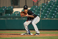 Jupiter Hammerheads first baseman Marcus Chiu (14) during a game against the Lakeland Flying Tigers on July 30, 2021 at Joker Marchant Stadium in Lakeland, Florida.  (Mike Janes/Four Seam Images)