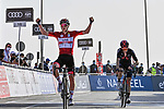 Race leader Tadej Pogacar (SLO) UAE Team Emirates wins ahead of Adam Yates (GBR) Ineos Grenadiers at the end of Stage 3 of the 2021 UAE Tour running 166km from Al Ain to Jebel Hafeet, Abu Dhabi, UAE. 23rd February 2021.  <br /> Picture: LaPresse/Gian Mattia D'Alberto | Cyclefile<br /> <br /> All photos usage must carry mandatory copyright credit (© Cyclefile | LaPresse/Gian Mattia D'Alberto)