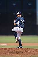 AZL Padres 2 starting pitcher Jefferson Garcia (44) delivers a pitch during an Arizona League game against the AZL Padres 1 at Peoria Sports Complex on July 14, 2018 in Peoria, Arizona. The AZL Padres 1 defeated the AZL Padres 2 4-0. (Zachary Lucy/Four Seam Images)