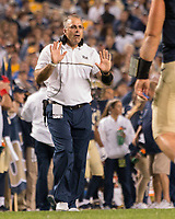 Pitt football head coach Pat Narduzzi. The Pitt Panthers defeated the Marshall Thundering Herd 43-27 on October 1, 2016 at Heinz Field in Pittsburgh, Pennsylvania.
