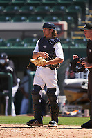 Detroit Tigers catcher Christopher Proctor (59) during a Minor League Spring Training game against the Baltimore Orioles on April 14, 2021 at Joker Marchant Stadium in Lakeland, Florida.  (Mike Janes/Four Seam Images)