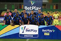 BUCARAMANGA- COLOMBIA, 19-01-2021:Jugadores del Boyacá  Chicó F.C. posan para una foto previo al partido entre Atlético Bucaramanga y el Boyaca Chico F.C.por la fecha 1 de la Liga BetPlay DIMAYOR 2021 jugado en el estadio Alfonso López de la ciudad de Bucaramanga. / Players of Boyaca Chico F.C. pose to a photo prior match for the date 1 as part of BetPlay DIMAYOR League 2021 between Atletico Bucaramanga and Boyaca Chico F.C. played at Alfonso Lopez stadium in Bucaramanga city.  Photo: VizzorImage /Jaime Moreno / Contribuidor