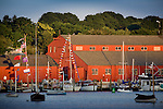 Red boathouse in Mystic, CT, USA