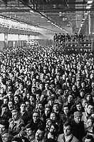 - trade-union assembly in the Arese (Milan) plant of Alpha Romeo car factory ....- assemblea sindacale nello stabilimento della fabbrica di automobili Alfa Romeo di Arese (Milano)