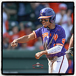 Second baseman Jordan Greene (9) of the Clemson Tigers shouts and pumps his fist after scoring a run in the Reedy River Rivalry game against the South Carolina Gamecocks on Saturday, March 2, 2019, at Fluor Field at the West End in Greenville, South Carolina. Clemson won, 11-5. (Tom Priddy/Four Seam Images)