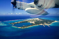 Aerial view (looking in the direction of northwest) of Midway Atoll, Northwestern Hawaiian Islands; 1988