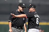 Norfolk Tides manager Gary Allenson #6 argues a call with first base umpire David Rackley during a game against the Rochester Red Wings at Frontier Field on June 5, 2011 in Rochester, New York.  Norfolk defeated Rochester 11-5 in eleven innings.  Photo By Mike Janes/Four Seam Images