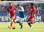 St Johnstone v Aberdeen…01.07.17  McDiarmid Park     Pre-Season Friendly <br />Craig Thomson gets between Graeme Shinnie and Shay Logan<br />Picture by Graeme Hart.<br />Copyright Perthshire Picture Agency<br />Tel: 01738 623350  Mobile: 07990 594431