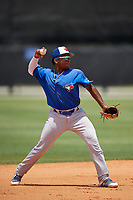Toronto Blue Jays Miguel Hiraldo (18) during a Minor League Extended Spring Training game against the Detroit Tigers on May 23, 2019 at Tigertown in Lakeland, Florida.  (Mike Janes/Four Seam Images)