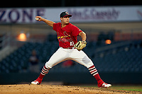 Palm Beach Cardinals pitcher Juan Yepez (41) during a Florida State League game against the Clearwater Threshers on August 10, 2019 at Roger Dean Chevrolet Stadium in Jupiter, Florida.  Clearwater defeated Palm Beach 11-4.  (Mike Janes/Four Seam Images)