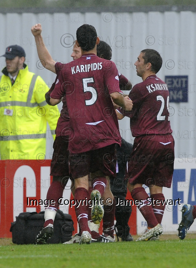 13/09/2008  Copyright Pic: James Stewart.File Name : sct_jspa16_falkirk_v_hearts.MICHAEL STEWART CELEBRATES AFTER HE SCORES HEARTS GOAL.James Stewart Photo Agency 19 Carronlea Drive, Falkirk. FK2 8DN      Vat Reg No. 607 6932 25.James Stewart Photo Agency 19 Carronlea Drive, Falkirk. FK2 8DN      Vat Reg No. 607 6932 25.Studio      : +44 (0)1324 611191 .Mobile      : +44 (0)7721 416997.E-mail  :  jim@jspa.co.uk.If you require further information then contact Jim Stewart on any of the numbers above........