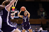 DURHAM, NC - NOVEMBER 17: Sydney Wood #3 of Northwestern University looks to pass the ball during a game between Northwestern University and Duke University at Cameron Indoor Stadium on November 17, 2019 in Durham, North Carolina.