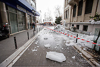 Pictured: Thick ice falls on a road in central Salonika, Greece. Monday 09 January 2017<br />