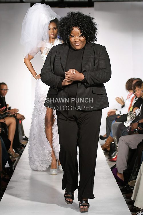 """Fashion designer Jewel Shannon walks runway at the close of her Jewel Shannon """"Island Pearl"""" collection, during BK Fashion Weekend Fall Winter 2012."""