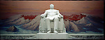 """NR00015/Kim Il Sung the 'Great Leader' sitting in front of the Mont Baiktou. This statue can be seen as soon as you enter the """"People's study Palace"""".  .COREE DU NORD/NORTH KOREA.Avril 2000."""