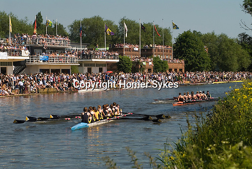 """Students. Oxford University Rowing Clubs Eights Week. Rowing races on the River Isis Oxford. (actually the River Thames). Summer Eights is a """"bumps race"""" intercollegiate rowing regatta takes place end of May in Trinity Term. Rowing boat club houses."""