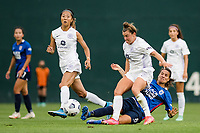 TACOMA, WA - JULY 31: Dzsenifer Marozsan #8 of the OL Reign battles for the ball during a game between Racing Louisville FC and OL Reign at Cheney Stadium on July 31, 2021 in Tacoma, Washington.