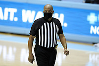 CHAPEL HILL, NC - FEBRUARY 24: Official Lamar Simpson during a game between Marquette and North Carolina at Dean E. Smith Center on February 24, 2021 in Chapel Hill, North Carolina.