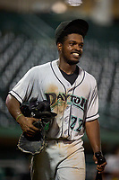 Dayton Dragons Ivan Johnson (22) after a game against the Fort Wayne TinCaps on August 25, 2021 at Parkview Field in Fort Wayne, Indiana.  (Mike Janes/Four Seam Images)