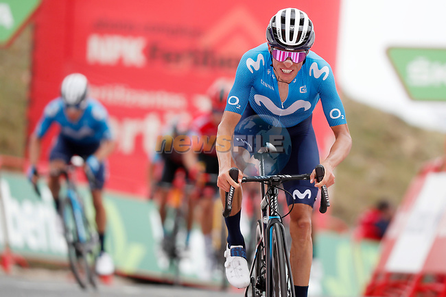 Enric Mas Nicolau (ESP) Movistar Team crosses the finish line in 5th place at the end of Stage 3 of La Vuelta d'Espana 2021, running 202.8km from Santo Domingo de Silos to Picon Blanco, Spain. 16th August 2021.    <br /> Picture: Luis Angel Gomez/Photogomezsport | Cyclefile<br /> <br /> All photos usage must carry mandatory copyright credit (© Cyclefile | Luis Angel Gomez/Photogomezsport)