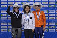 SPEEDSKATING: Calgary, The Olympic Oval, 08-02-2020, ISU World Cup Speed Skating, Podium 1500m Ladies Division A, Ivanie Blondin (CAN), Miho Takagi (JPN), Ireen Wüst (NED), ©foto Martin de Jong