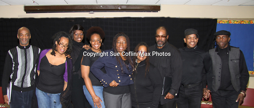 """Keith Captain Gambel, Niambi Steele; Ahn Andre; Tanashia Harrington; Evern Gillard-Randolph, KimDeon; Michael Davis; Charles Lovell cast of """"To Do List"""" at Evern Gillard-Randolph, playwright and founder of Grandparents Around the World, presents her new play """"To Do List"""" in a first play reading on December 7, 2013 at the Salvation Army Harlem Corps, New York, New York.   (Photo by Sue Coflin/Max Photos)"""