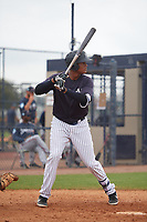New York Yankees Carlos Tatis (36) during a Minor League Spring Training game against the Atlanta Braves on March 12, 2019 at New York Yankees Minor League Complex in Tampa, Florida.  (Mike Janes/Four Seam Images)