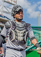 20 September 2015: Miami Marlins catcher Tomas Telis prepares for the start of play against the Washington Nationals at Nationals Park in Washington, DC. The Marlins fell to the Nationals 13-3 in the final game of their 4-game series. Mandatory Credit: Ed Wolfstein Photo *** RAW (NEF) Image File Available ***