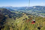Austria, Tyrol, Fieberbrunn: view from cable car towards Fieberbrunn, background left Kaiser mountain range