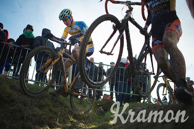 Corné van Kessel (NLD) riding the ditch<br /> <br /> 2014 Noordzeecross<br /> Elite Men
