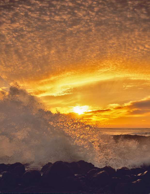 Sunset with wave at Smelt Sands State Park, Oregon