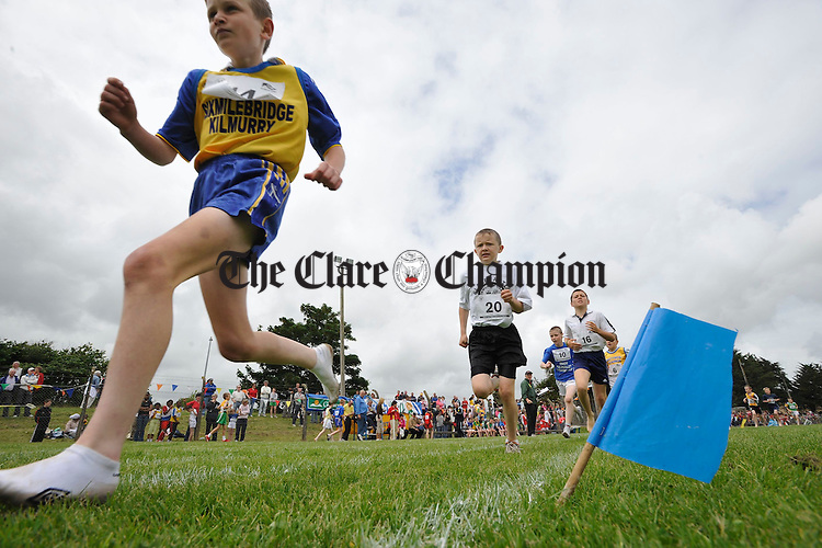 A worms eye view of a heat at the Clare Community Games Athletics finals in Rosslevan. Photograph by John Kelly.