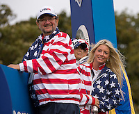 23.09.2014. Gleneagles, Auchterarder, Perthshire, Scotland.  The Ryder Cup.  Patriotic USA fans during the Team USA practice round.