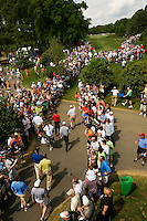 Golfer Tiger Woods makes his way to the 9th tee box during the Quail Hollow Championship golf tournament 2009. The event, formerly called the Wachovia Championship, is a top event on the PGA Tour, attracting such popular golf icons as Tiger Woods, Vijay Singh and Bubba Watson. Photo from the final round in the Quail Hollow Championship golf tournament at the Quail Hollow Club in Charlotte, N.C., Sunday , May 03, 2009.