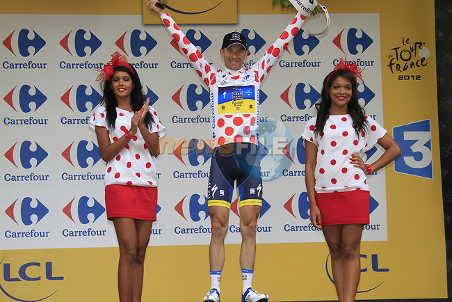 Michael Morkov (DEN) Saxo Bank-Tinkoff Bank retains the mountains Polka Dot Jersey at the end of Stage 2 of the 99th edition of the Tour de France 2012, running 207.5km from Vise to Tournai, Belgium. 2nd July 2012.<br /> (Photo by Eoin Clarke/NEWSFILE)