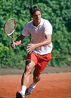 7-9-09, Alphen aan den Rijn, Persconferentie Daviscup team, Jesse Huta Galung traint